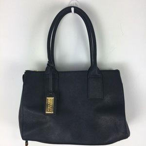 Badgley Mischka leather satchel w/gold trim